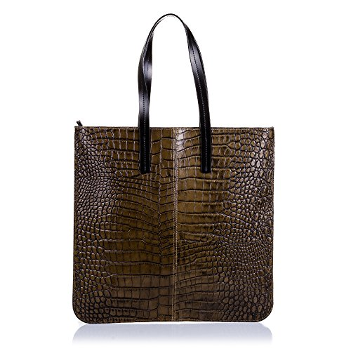 FIRENZE ARTEGIANI.Bolso shopping bag de mujer piel auténtica.Bolso GRANDE,cuero genuino grabado cocodrilo. MADE IN ITALY. VERA PELLE ITALIANA. 42x42x5 cm. Color: MARRON OSCURO
