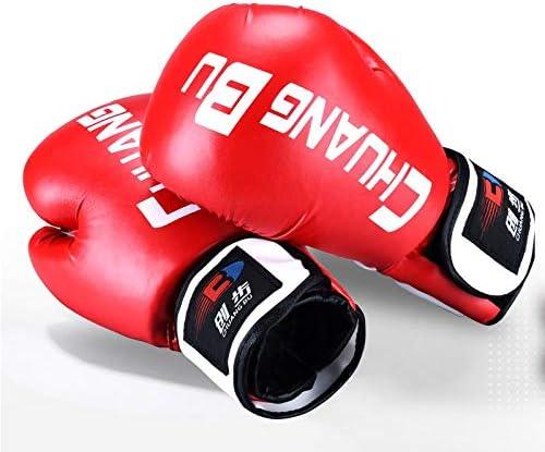 手袋 日常 実用 ボクシンググローブムエタイパンチバッグミットスパーリングパンチングマヤ皮革総合格闘技、キックボクシング、トレーニングボクシング用具 (Color : Red)
