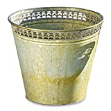 Whole House Worlds The Grand Tour Bucket Planter, Galvanized Zinc, Palmetto Lace Pattern Open Work Rims, Distressed Green and Rusty Patina, 11¾ Diameter x 12¼ Inches Tall, By