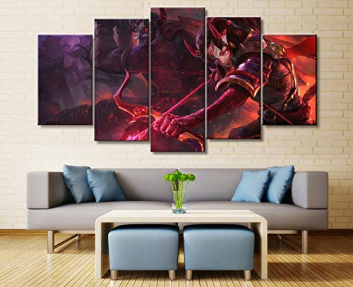 sansiwu k 5Panel League of Legends Ashe/Tryndamere Game Canvas Printed Painting Living Room Wall Art Decor Hd Picture Artworks Poster