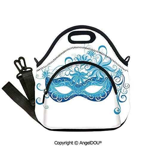 AngelDOU Masquerade lightweight Portable Picnic tote lunch Bags Venetian Style Mask Majestic Impersonating Enjoying Halloween Night Theme student cute girls mummy bag.12.6x12.6x6.3(inch) -