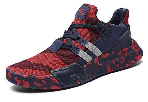 JIYE Mens Fashion Sneakers Running Shoes Lightweight Casual Camouflage Walking Shoe,Red,47EU=12.5US-Men