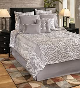 Park b smith nairobi comforter set silver for Kitchen queen set