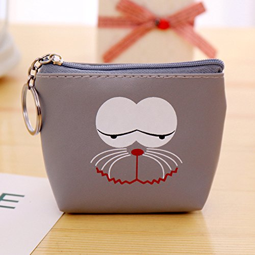 Coin Coin Cartoon Women Bag Purse Grils for Key SHANF Pink Mini Grey Pu Zipped Chain wgqX48Z
