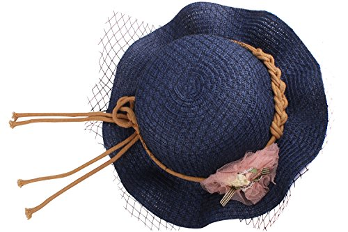[JIERKU sun hat for kids girls summer hats cute sun hat straw summer hat Navy] (Toddler Gardener Costume)