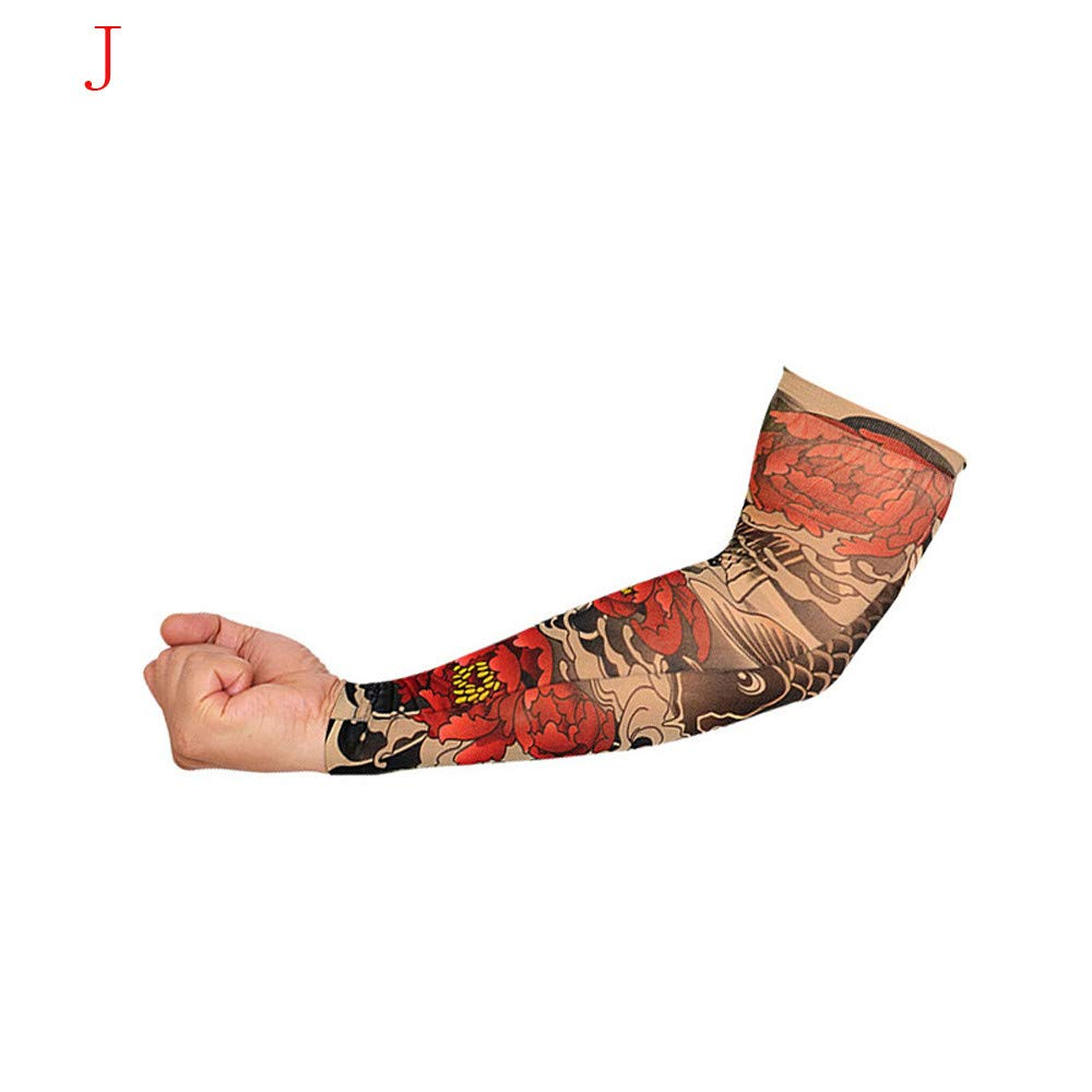1Pc Elastic Temporary Tattoo Sleeve Tattoo Sleeves Cover up Tattoo Arm Sleeves for Men UV Protection Nylon Unisex Stretchable Cosplay Costume Accessories - Pattern Random (J)