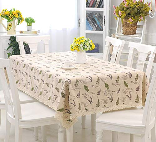 Jinsun Simple Tablecloth Dust Proof Cloth Pastoral Blended Material Table Cloth,Imitation Cotton Linen Style, Round Rectangular Table Cloth (Size : 150200cm) (Size : 9090cm)