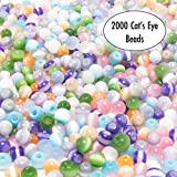 Over 2000 4mm Cat's Eye Glass Beads for Jewelry Making Supplies for Adults, Small Assorted Beading Crafting Supplies Kit for DIY Bracelet and Necklace Making, 8 Girls Bead Bracelets for Inspiration