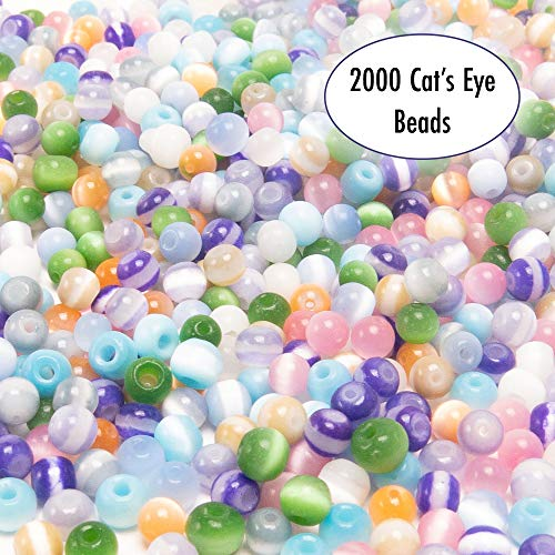 Over 2000 4mm Cat's Eye Glass Beads for Jewelry Making Supplies for Adults, Small Assorted Beading Crafting Supplies Kit for DIY Bracelet and Necklace Making, 8 Girls Bead Bracelets for Inspiration (Cat Eye Diy)