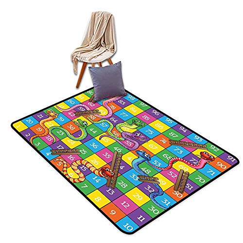 Door Rug for Internal Anti-Slip Rug Board Game Cute Snakes Smiling Faces Numbers in Squares Ladders Childrens Kids Play Print Durable W71 xL94.5 ()