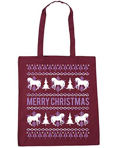 x38cm christmas horse Merry Beach 10 Burgundy Tote Shopping Gym litres 42cm HippoWarehouse Bag Eqz6E
