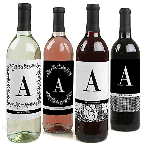 Custom Floral Monogram - Wedding Wine Bottle Labels - Set of 4