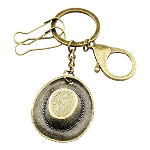 (FOY-MALL Unisex Fashion Retro Bronze Cowboy Hat Alloy Keychain)