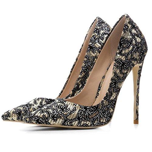 Paillettes Doigt Chaussures Talon Fête Pied Pointu Pompes Robe EUR43UK9 Tribunal de NVXIE GOLD Haute Stylet Sexy Femmes wXytCqOwU7