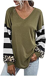 Sweatshirts for Women, Trendy Color Block Print Long Sleeve V Neck Pullover Tops Casual Loose Fit Comfy Sweate