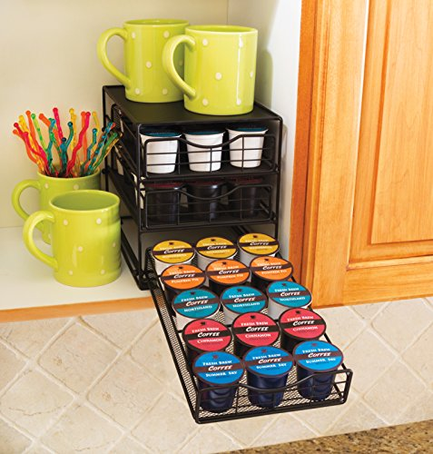 Lipper International 8670 In-Cabinet Coffee Pod Drawer, 3-Tier, 45-Pod Capacity, Black by Lipper International (Image #2)