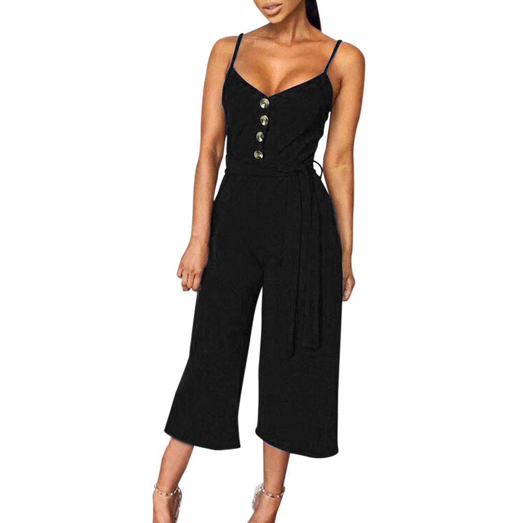 GWshop Ladies Fashion Elegant Jumpsuit Summer Jumpsuits for Women Casual Button Off Shoulder Sleeveless Rompers with Belt Black S