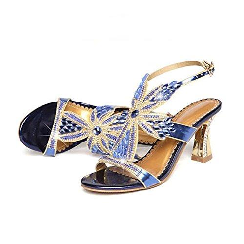 di strass blue YWNC cavallo temperamento ferro sandali 2018 tacco donna ferri scarpe fibbia a nuovo fRZ8Rqxw