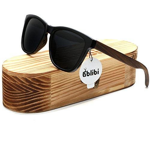 Ablibi Bamboo Wooden Wayfarer Sunglasses Polarized Driving Eyewear in Wood Box (Ebony, - Sunglasses Look See