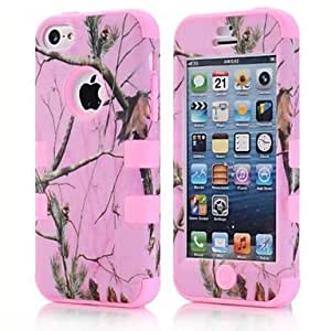 YXF 3 in 1 Cover Case Silicone Straw Grass Tree Mossy Camo for iPhone5C , Black