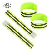 Panaoxf Reflective Fabric Ankle Bands High Visibility and Evening Safety for Cycling/Biking/Walking/Jogging Set of 4 Reflective Armbands, Wristbands, leg straps Running Gear and Outdoor Sports