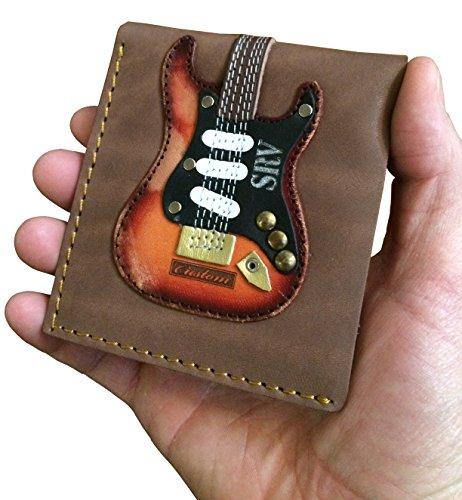 (Men's Leather Wallet - Genuine Leather - Handmade - SRV - Stevie Ray Vaughan - Number One - Fender Stratocaster - Guitar Pick Holder)