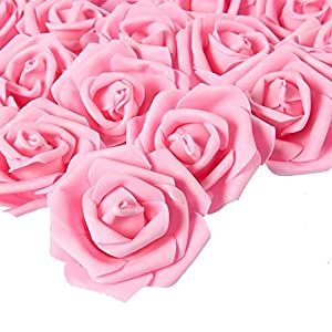 Stemless Rose Flower Heads, Artificial Roses for Weddings and Crafts (3 x 1.25 x 3 in, Pink, 100)