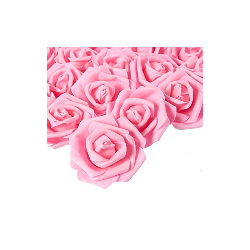 silk flower arrangements stemless rose flower heads, artificial roses for weddings and crafts (3 x 1.25 x 3 in, pink, 100)
