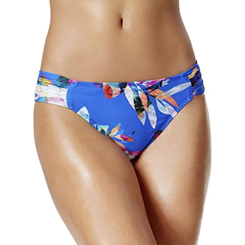 La Blanca Women's Side Shirred Hipster Bikini Swimsuit Bottom, Blue/Orange/Havana Tropics Print, 12