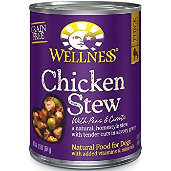 Wellness Thick & Chunky Natural Wet Grain Free Canned Dog Food, Chicken Stew, 12.5-Ounce Can (Pack of 12)
