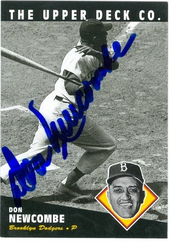 Autograph Warehouse 74078 Don Newcombe Autographed Baseball Card Brooklyn Dodgers 1994 Upper Deck No 72 Bat Baseball Greats Don Newcombe Autographed Baseball