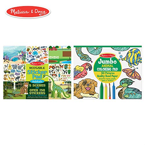 Melissa & Doug Sticker and Jumbo Coloring Pads Set: Animals - 150+ Stickers, 50 Coloring Pages