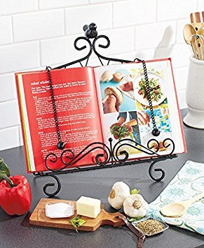 - Iron Cookbook Stand ~ Book Holder Adorned with Bird