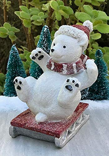 Sledding Bears (ShopForAllYou Figurines and Statues Mini Fairy Garden ~ Large North Pole Christmas Sledding Polar Bear Sled Figurine)