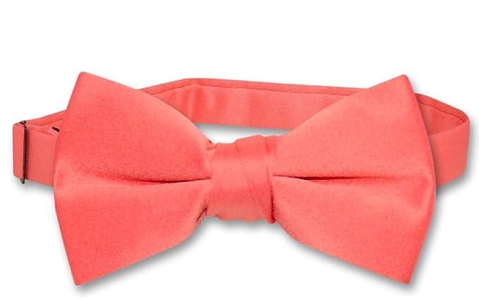 Vesuvio Napoli BOY'S BOWTIE Solid CORAL PINK Color Bow Tie