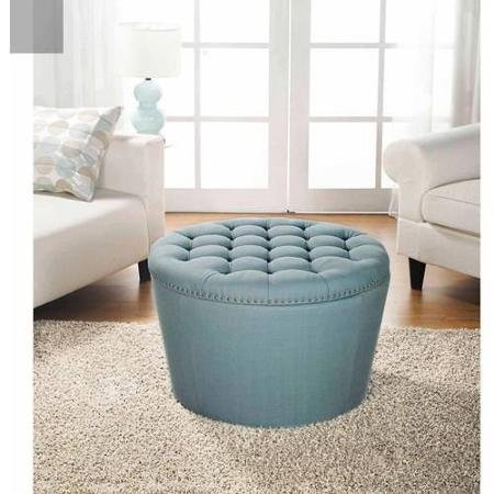 Nailhead Storage Ottoman (Better Homes and Gardens 'Comfortable' Round Tufted Storage Ottoman with Nailheads (Aqua))