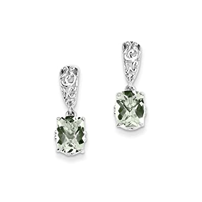 78aff3c0c Image Unavailable. Image not available for. Color: Sterling Silver Green Quartz  Earrings