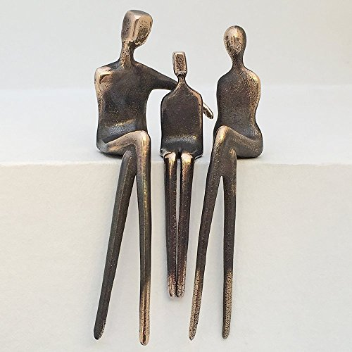 """Cuddle Up Boy"" Family of 3 - Yenny Cocq Design Loving People Bronze Collectible Figurines"