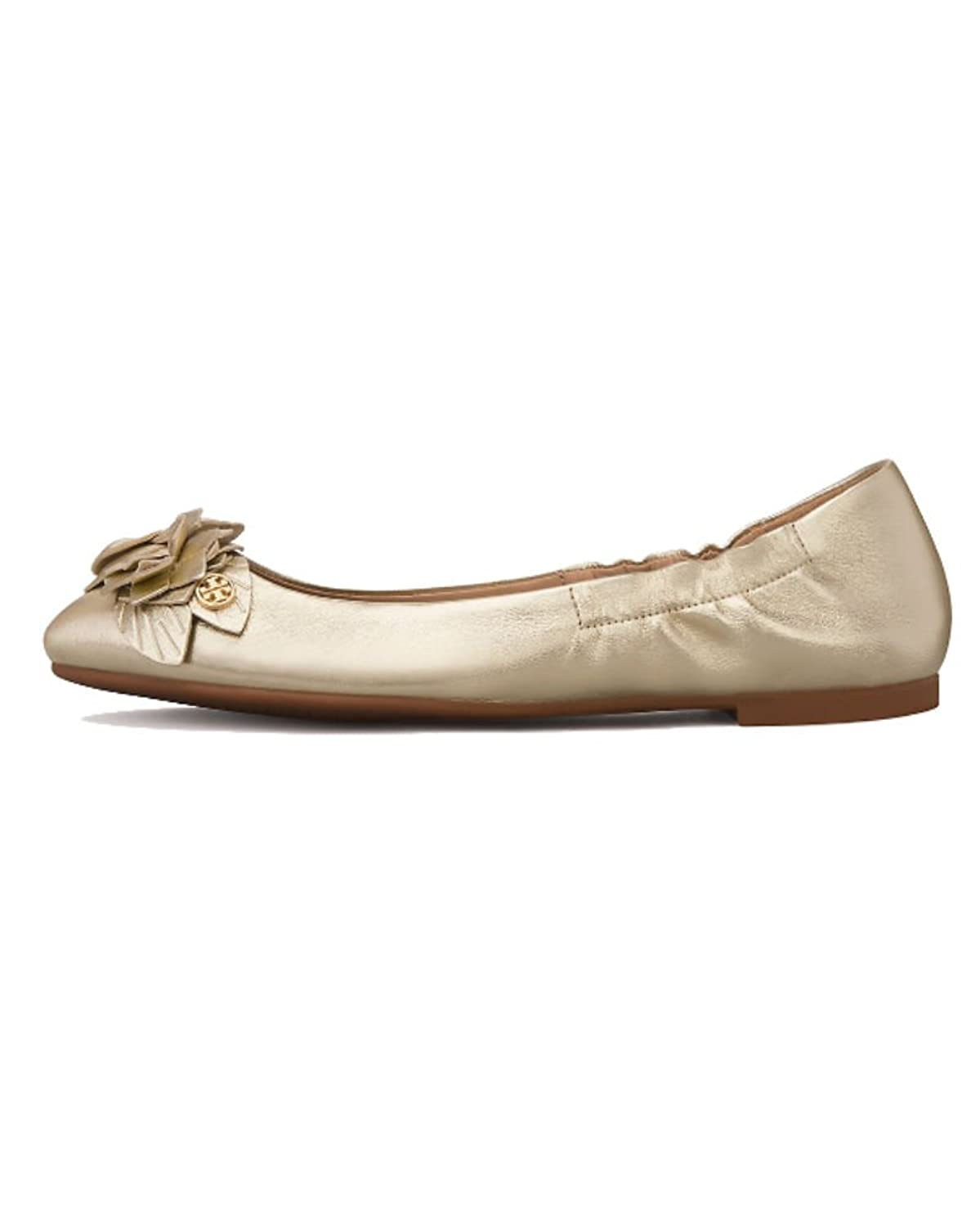 Tory Burch Blossom Metallic Leather Ballet Flats, Spark Gold
