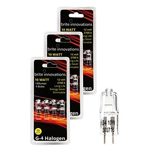 Brite Innovations G4 Halogen Bulb, 10 Watt (12 Pack) Dimmable Soft White 2700K -12V-Bi Pin -, T3 JC Type, Clear Light Bulb 12 Volt Clear Bi Pin