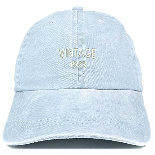 Trendy Apparel Shop Small Vintage 1928 Embroidered 91st Birthday Washed Pigment Dyed Cap - Light Blue