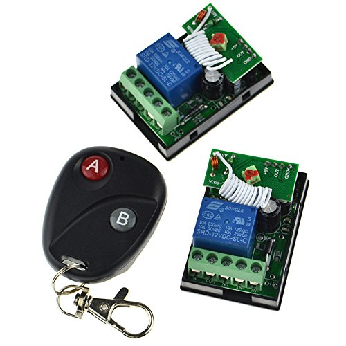 12V 10A One Channel Relay RF Wireless Remote Control 2 Receivers Momentary Switch ()