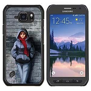 LECELL--Funda protectora / Cubierta / Piel For Samsung Galaxy S6Active Active G890A -- Pared de ladrillo de la bufanda de invierno Outfit Ciudad muchacha del estilo --