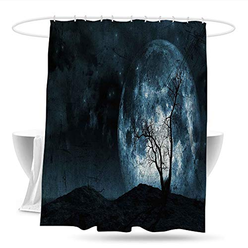 youLookme Travel Shower Curtain FantasyNight Moon Sky with Tree Silhouette Gothic Halloween Colors Scary Artsy Background Bathroom Curtain Washable Polyester 70in×70in Slate Blue -