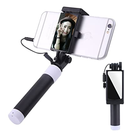 d0404b01a946fa Selfie Stick [No Bluetooth] Aeeque Extendable Monopod Wired Selfie Stick  with HD Rearview Mirror for iPhone X/6 6S 7 8 Plus 5 SE ...