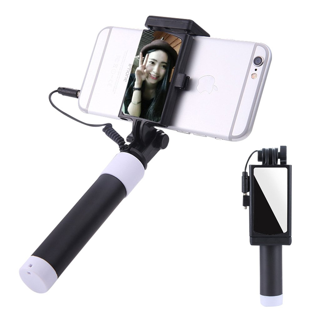 Aeeque Selfie Stick [No Bluetooth] Extendable Monopod Wired Selfie Stick with HD Rearview Mirror for iPhone X 6 6S 7 8 Plus 5 SE, Galaxy Note 8 S9 S8 Plus S7 Edge J7 3, Gifts for Girls Boys, Black