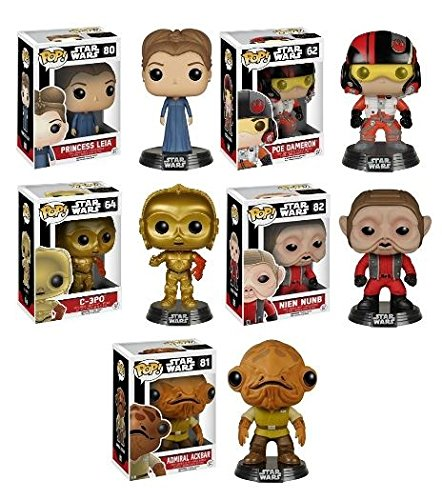 Funko POP! Star Wars Episode 7: Resistance Pack - Princess Leia / C-3PO / Poe Dameron / Nien Nunb / Admiral Ackbar Vinyl Bobble-Head Bundle NEW