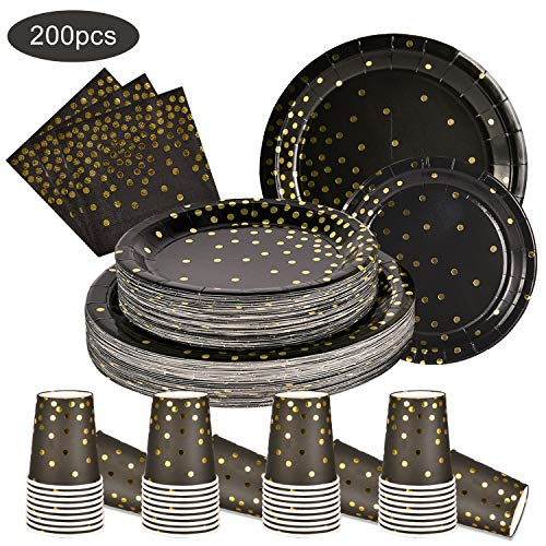200PCS Disposable Black and Gold Paper Plates and Napkins Cups Sets Black and Gold Party Supplies for Birthday Party…
