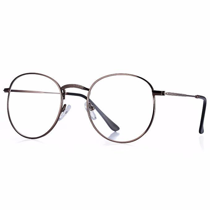 7adc7c2335 Pro Acme Classic Round Metal Clear Lens Glasses Frame Unisex Circle  Eyeglasses (Bronze)  Amazon.co.uk  Clothing