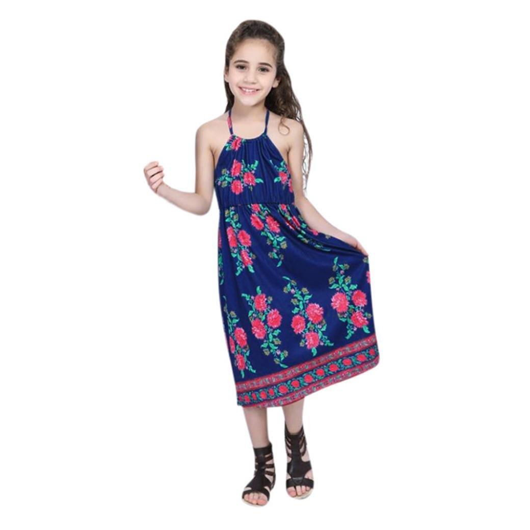 Family Matching Dress Clothes, Franterd Mom&Me Women Girls Strap Floral Long Maxi Splice Backless Beach Sundress (Daughter, 2T)